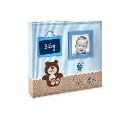 alb800 album bebe tecido azul ursinho menino 200 fotos 10x15