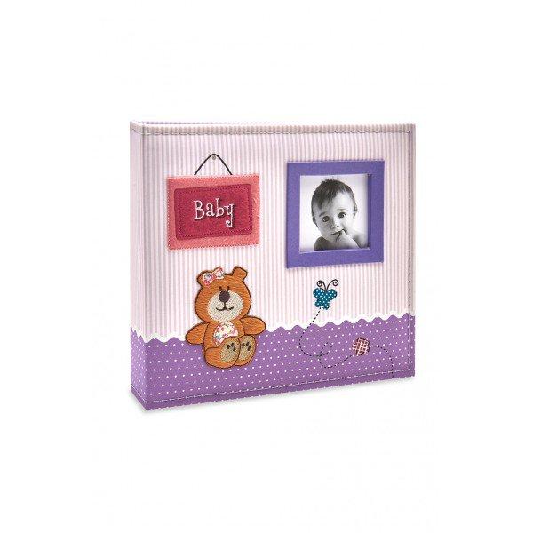 ALB801 lbum Beb Tecido Rosa e Lils Ursinho Menina 200 Fotos 10X15