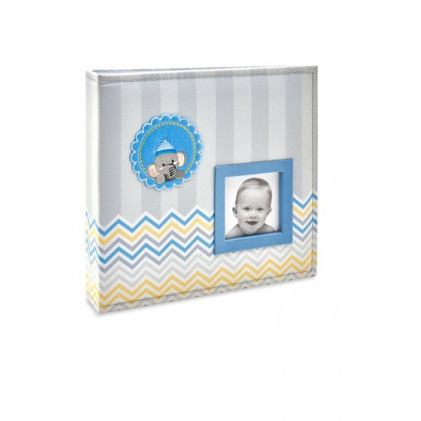 ALB811 lbum Beb Tecido Azul Elefante Menino 200 Fotos 10X15