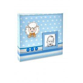 ALB816 lbum Beb Tecido Azul Ovelha Menino  200 Fotos 10X15