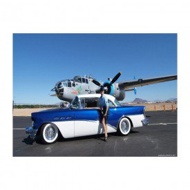Placa Decorativa em MDF Avião Militar e Carro Antigo