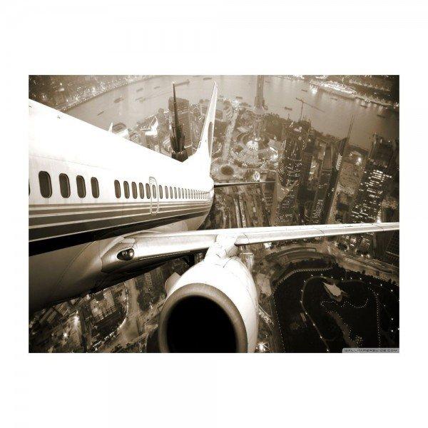Placa Decorativa em MDF Avião Sobrevoando Cidade