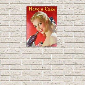 Placa Decorativa em MDF Have a Coke Coca Cola Oldschool