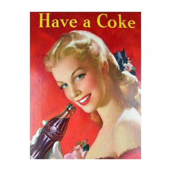 Placa Decorativa em MDF Have a Coke Coca Cola Oldschool