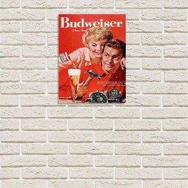 Placa Decorativa em MDF Cerveja Propaganda Budweiser Oldschool Relax