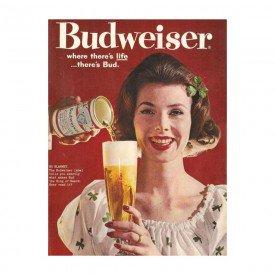 Placa Decorativa em MDF Cerveja Propaganda Bidweiser Antigo Oldschool Vintage