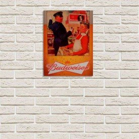 Placa Decorativa em MDF Cerveja Propaganda Budweiser Old