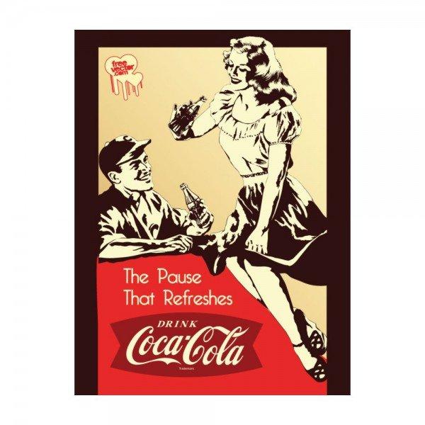 Placa Decorativa em MDF Propaganda Antiga Coca Cola Back in Old Days
