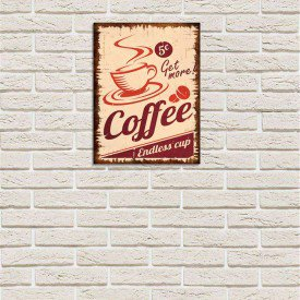 Placa Decorativa em MDF Propaganda Antiga Endless Cup Coffee Café
