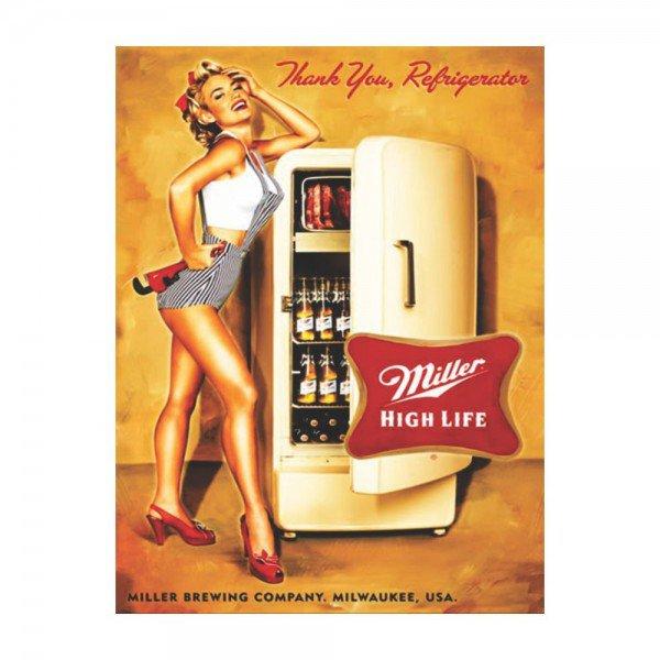 Placa Decorativa em MDF Propaganda Antiga Miller High Life