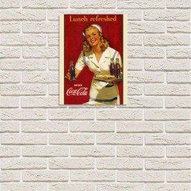 placa decorativa em mdf propaganda antiga refrigerante coca cola garconete com fundo