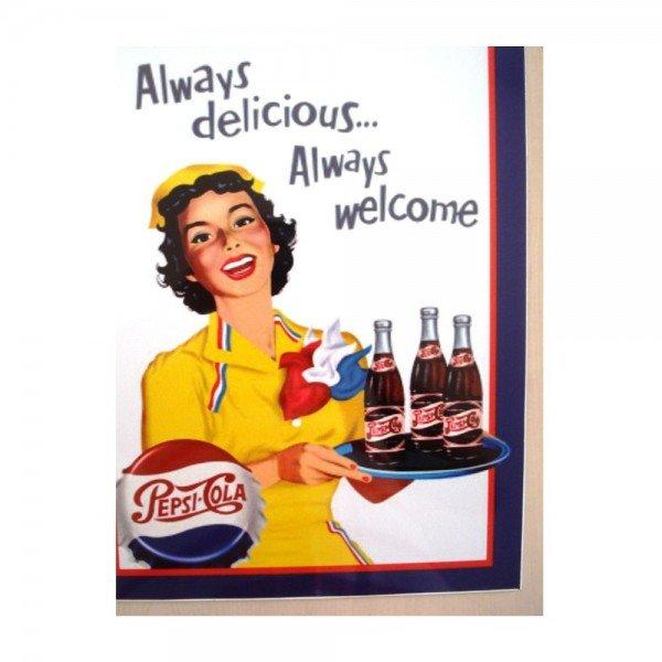 Placa Decorativa em MDF Propaganda Vintage Pepsi