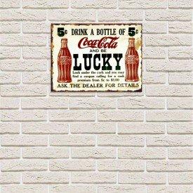 Placa Decorativa em MDF Refrigerante Coca Cola Antigo Oldschool