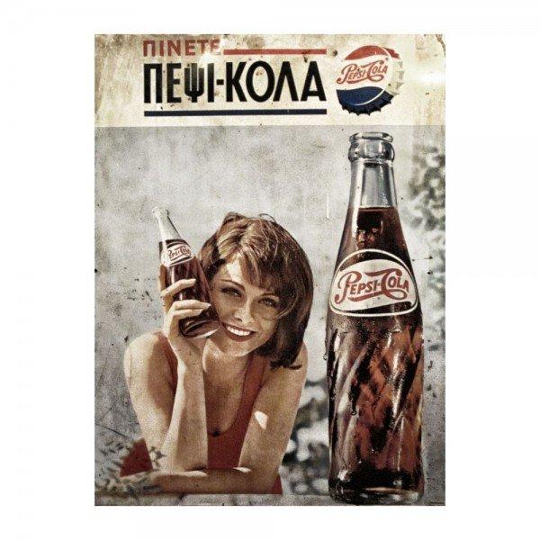 Placa Decorativa em MDF Propaganda Pepsi Antigo