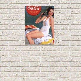 Placa Decorativa em MDF Propaganda Antiga Refrigerante Coca Cola Praia