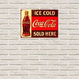 Placa Decorativa em MDF Ice Cold Coca Cola