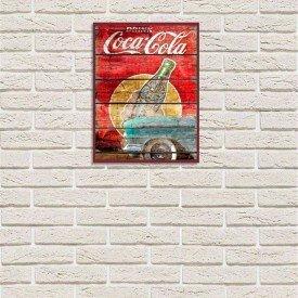 Placa Decorativa em MDF Propaganda Vintage Coca Cola Madeira