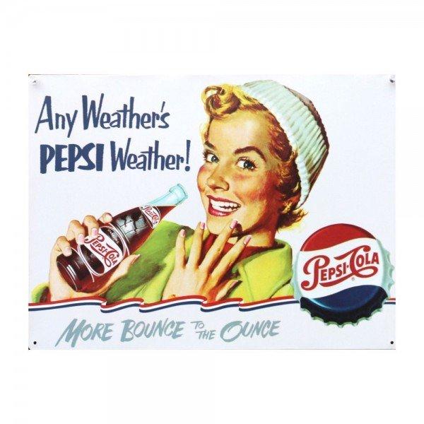 Placa Decorativa em MDF Propaganda Vintage Antiga Pepsi Cola