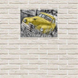 placa decorativa em mdf carro antigo amarelo abandonado com fundo