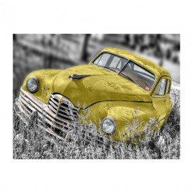 placa decorativa em mdf carro antigo amarelo abandonado