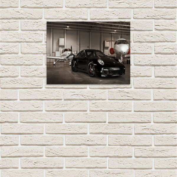 placa decorativa em mdf carro de luxo hangar jatinho com fundo