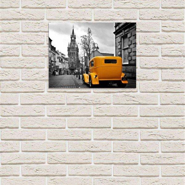 placa decorativa em mdf europe yellow car com fundo