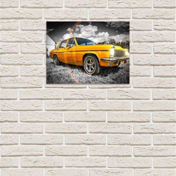 placa decorativa em mdf carro antigo speed amarelho com fundo