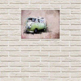 placa decorativa em mdf kombi verde abstrato drawing com fundo