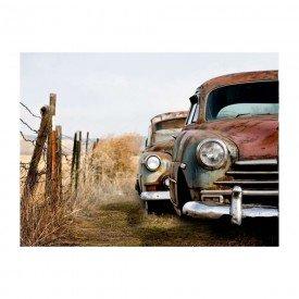 placa decorativa em mdf carros abandonados em fazenda