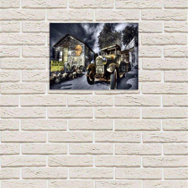 placa decorativa em mdf carro antigo posto de gasolina com fundo