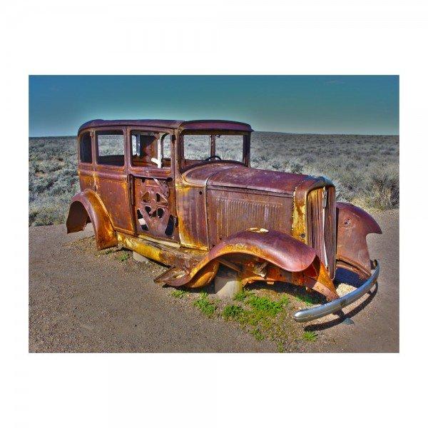 placa decorativa em mdf carro antigo no deserto abandonado