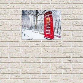 placa decorativa em mdf cabine de telefone londres neve com fundo