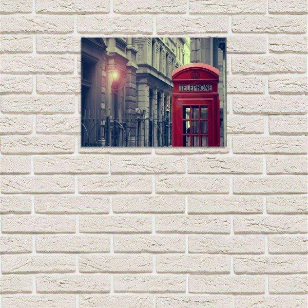 placa decorativa em mdf cabine de telefone londres noite com fundo