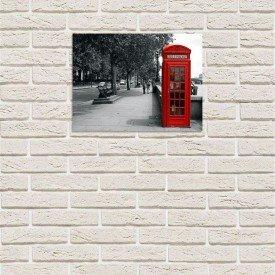 placa decorativa em mdf cabine de telefone vermelho europa com fundo