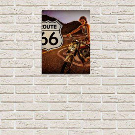placa decorativa em mdf route 66 oldschoo bike com fundo