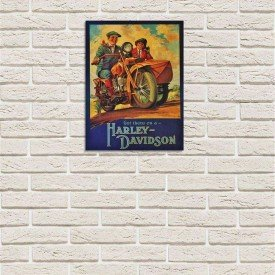 placa decorativa em mdf harley davidson propaganda oldschool com fundo