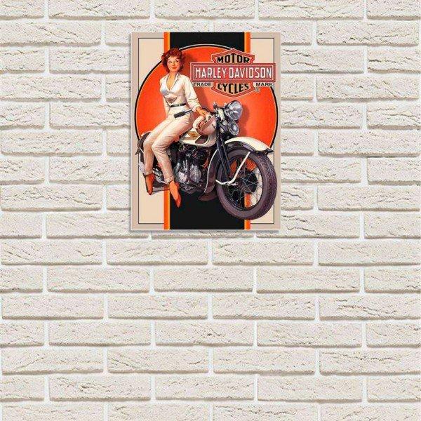 Placa Decorativa em MDF Harley Davidson Retro Vintage