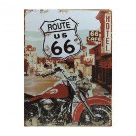 Placa Decorativa em MDF Route 66 and Harley Davidson Retro