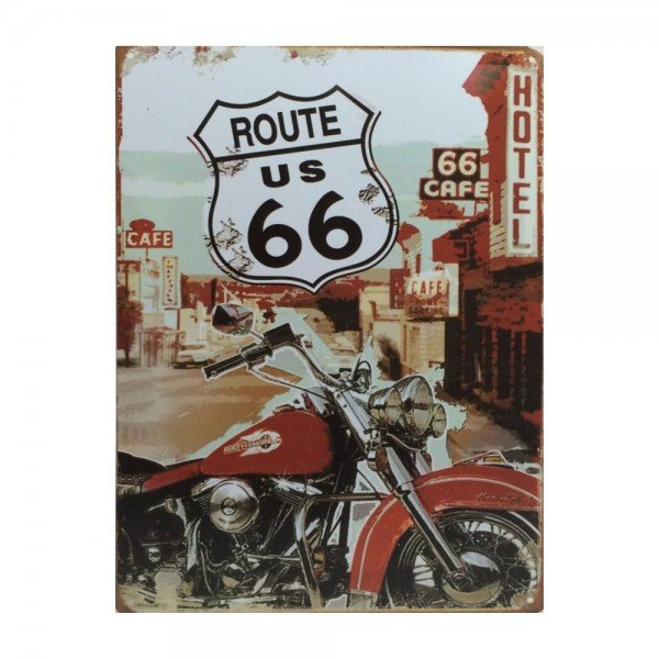 Placa Decorativa em MDF Route 66 and Harley Davidson Retro