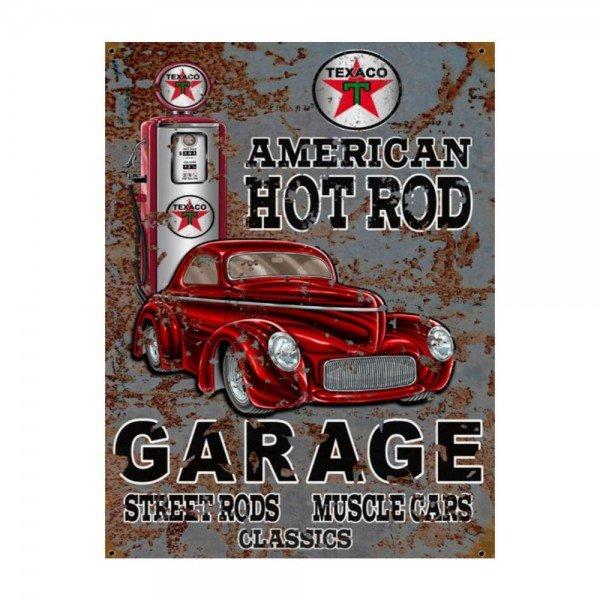 Placa Decorativa em MDF Garagem American Hot Rod Vintage Carro Antigo