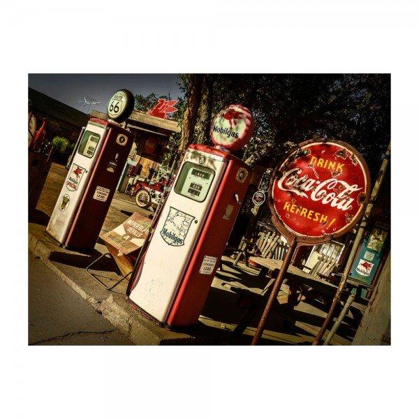 Placa Decorativa em MDF Posto Oldschool Coca Cola Route 66