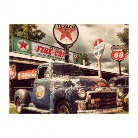 Placa Decorativa em MDF Posto Texaco Carro Abandonado
