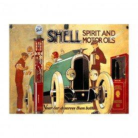 Placa Decorativa em MDF Propaganda Shell Oldschool Antigo Posto e Carro Antigo