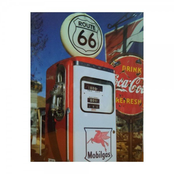 Placa Decorativa em MDF Route 66 Posto Oldschool