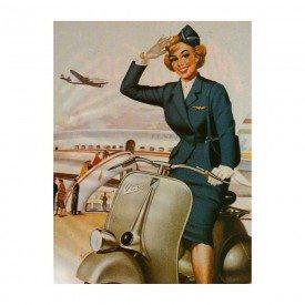 Placa Decorativa em MDF Air Women Plane