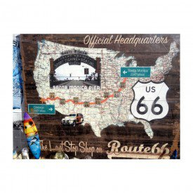 Placa Decorativa em MDF Santa Monica Route 66 US