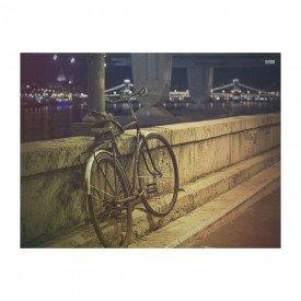 Placa Decorativa em MDF Vintage Bicicleta e Ponte