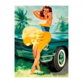 Placa Decorativa em MDF Vintage Hawaii Women
