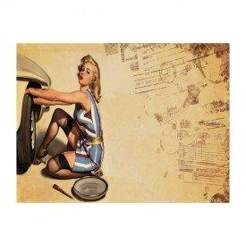 Placa Decorativa em MDF Vintage Sexy Women Car