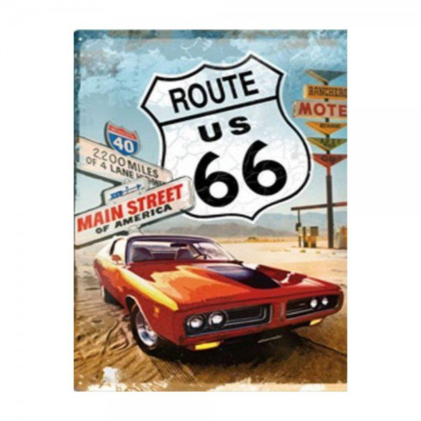 Placa Decorativa em MDF Vintage Route US 66